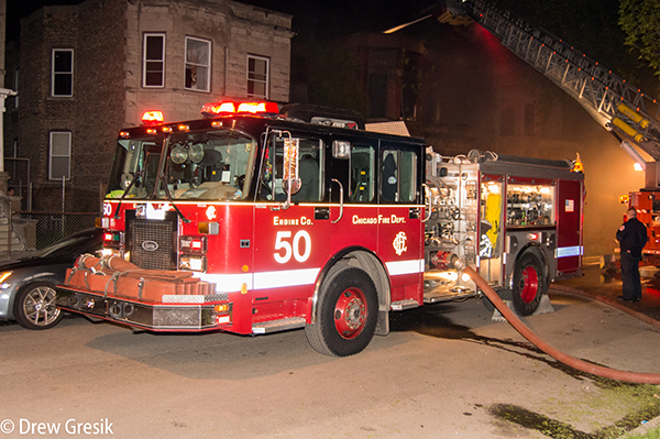 Chicago FD Engine 50 at a fire scene