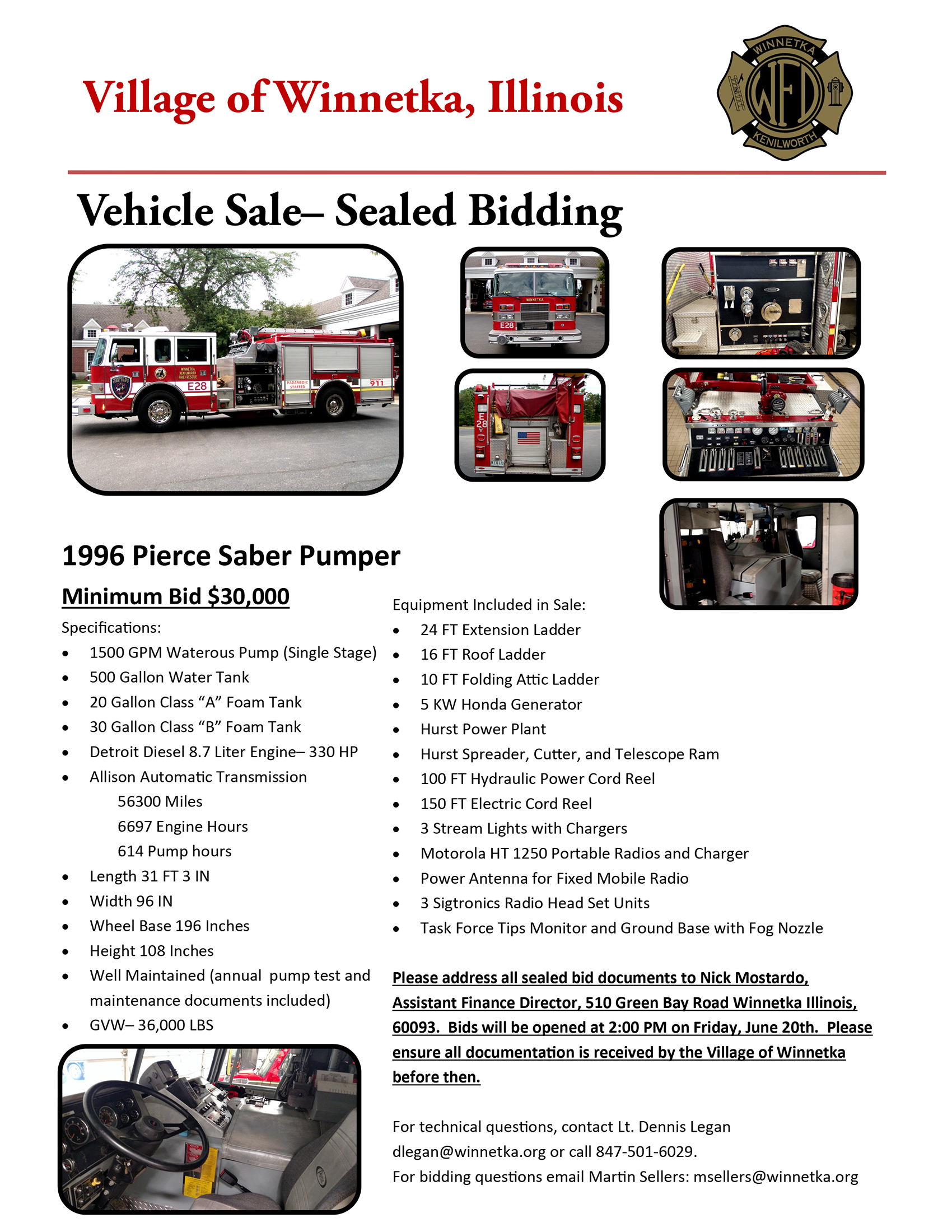 Pierce fire engine for sale in Winnetka Illinois