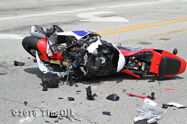 motorcycle damaged during a crash
