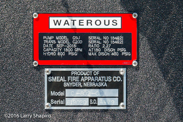 Smeal Fire Apparatus law tag