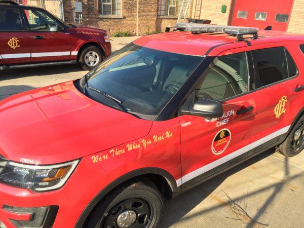 red Ford Explorer for the Chicago FD