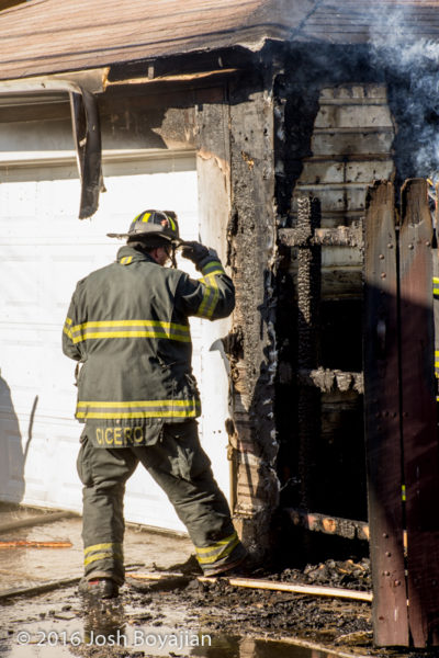 Cicero firefighter after garage fire