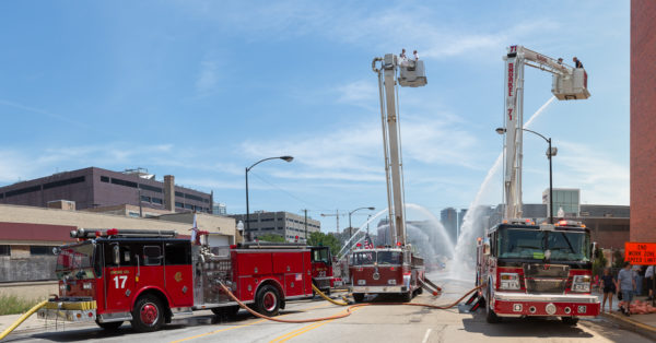 vintage fire trucks at fire muster