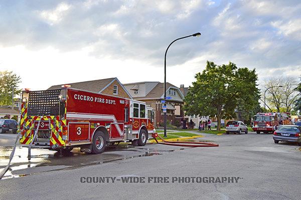 Cicero fire engine at scene
