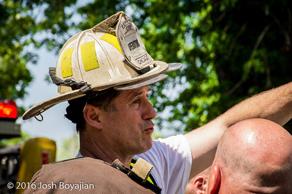 fire chief after battling fire on a hot day