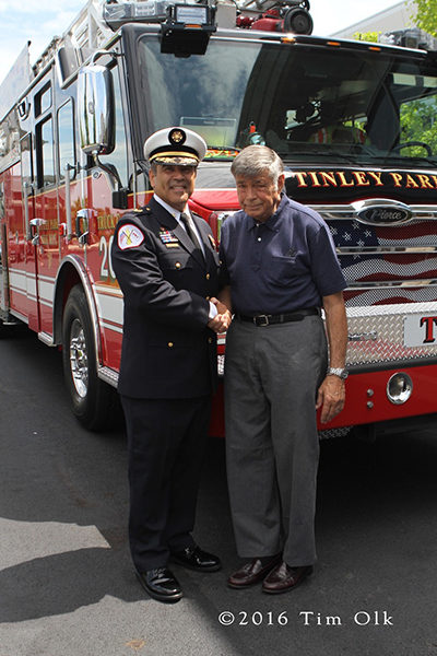 Tinley Park Fire Chief Kenneth Dunn with Chicago Fire Commissioner Jose Santiago