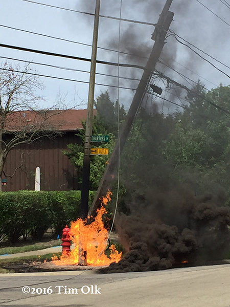 fire from downed power line