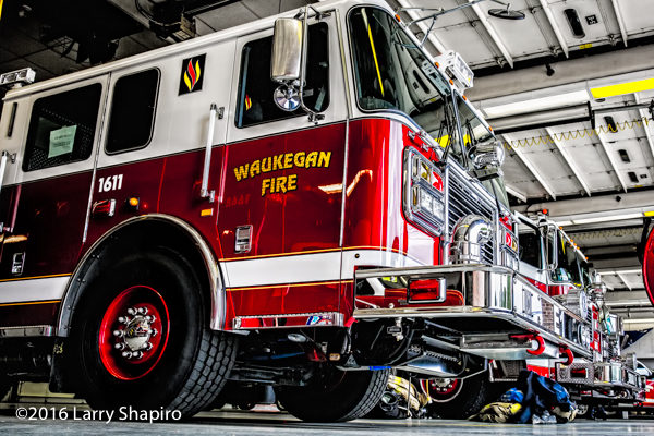 Seagrave fire trucks in the station