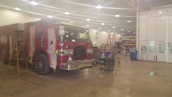 fire truck in body shop