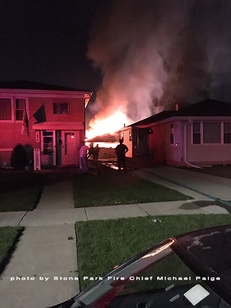 garage fully engulfed in fire