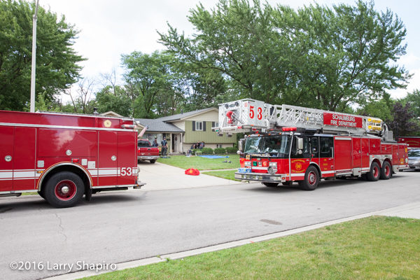 Schaumburg fire trucks at fire scene
