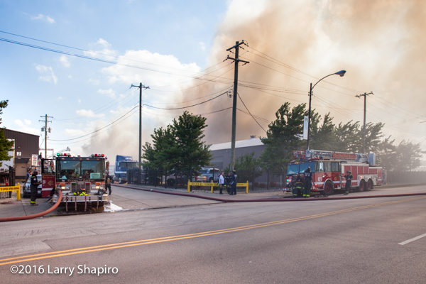 Chicago firefighters battle a large fire