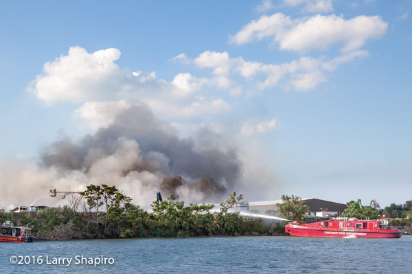 Chicago FD Engine 2 fire boat the Christopher Wheatley fighting a fire