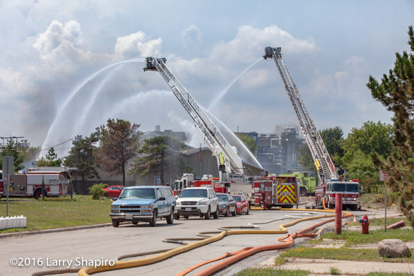 elevated master streams at fire scene