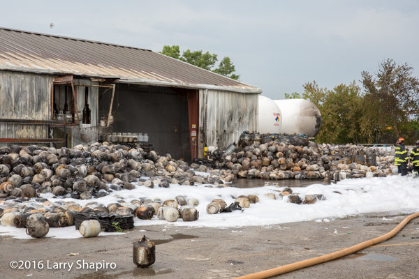 aftermath of fire at propane tank service company