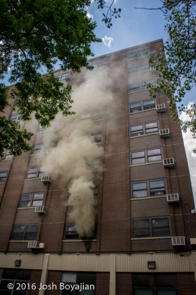 smoke from high-rise building fire in Chicago