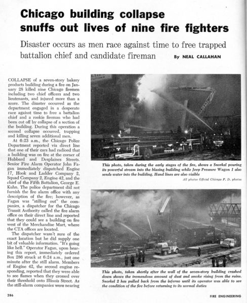 Vintage article from Fire Engineering Magazine on the Hubbard Street fire in Chicago