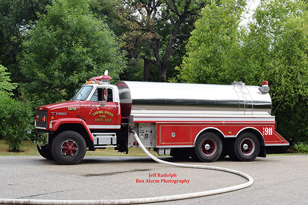 Spring Grover FD tender at fire scene