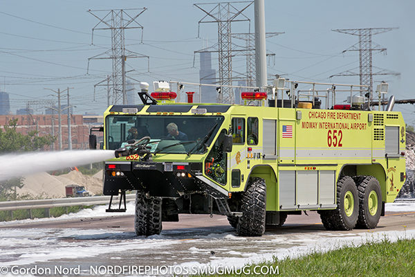 Oshkosh Striker at highway crash