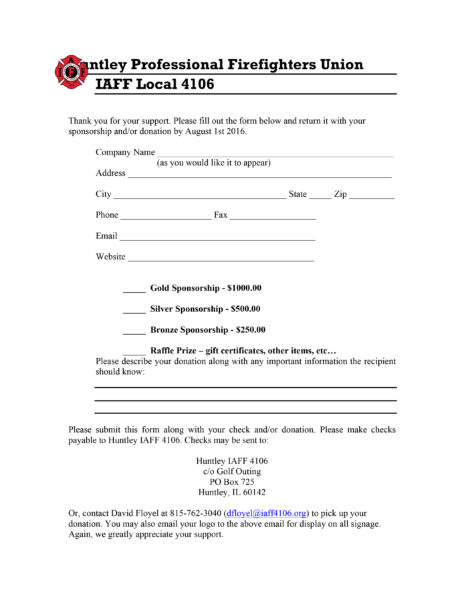 Huntley FPD Firefighters Union Annual Charity Golf Outing