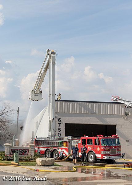Snorkel fire truck at fire scene