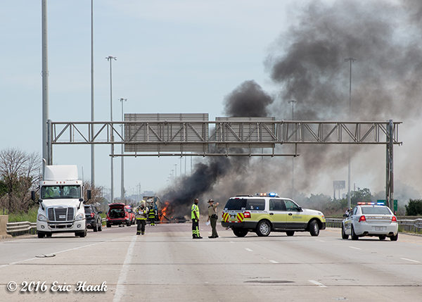 IL State Police close the highway for a truck fire