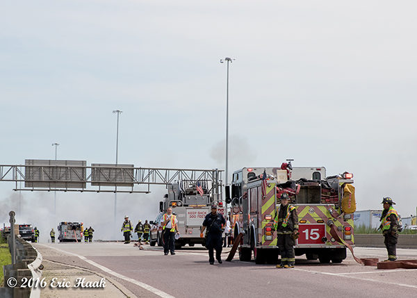Chicago fire trucks stages on the highway
