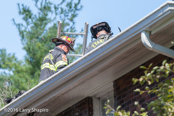 Evanston firefighters on roof at house fire