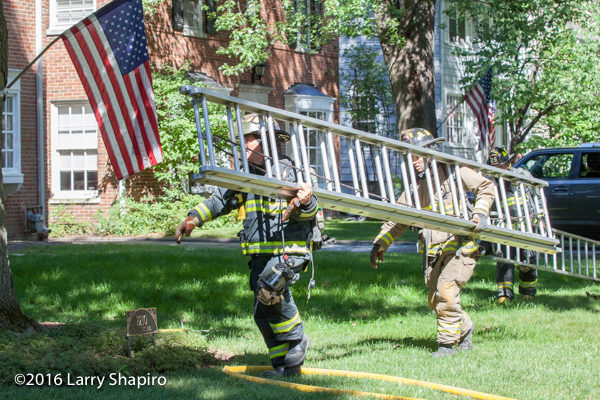 firefighters carry ground ladder at scene