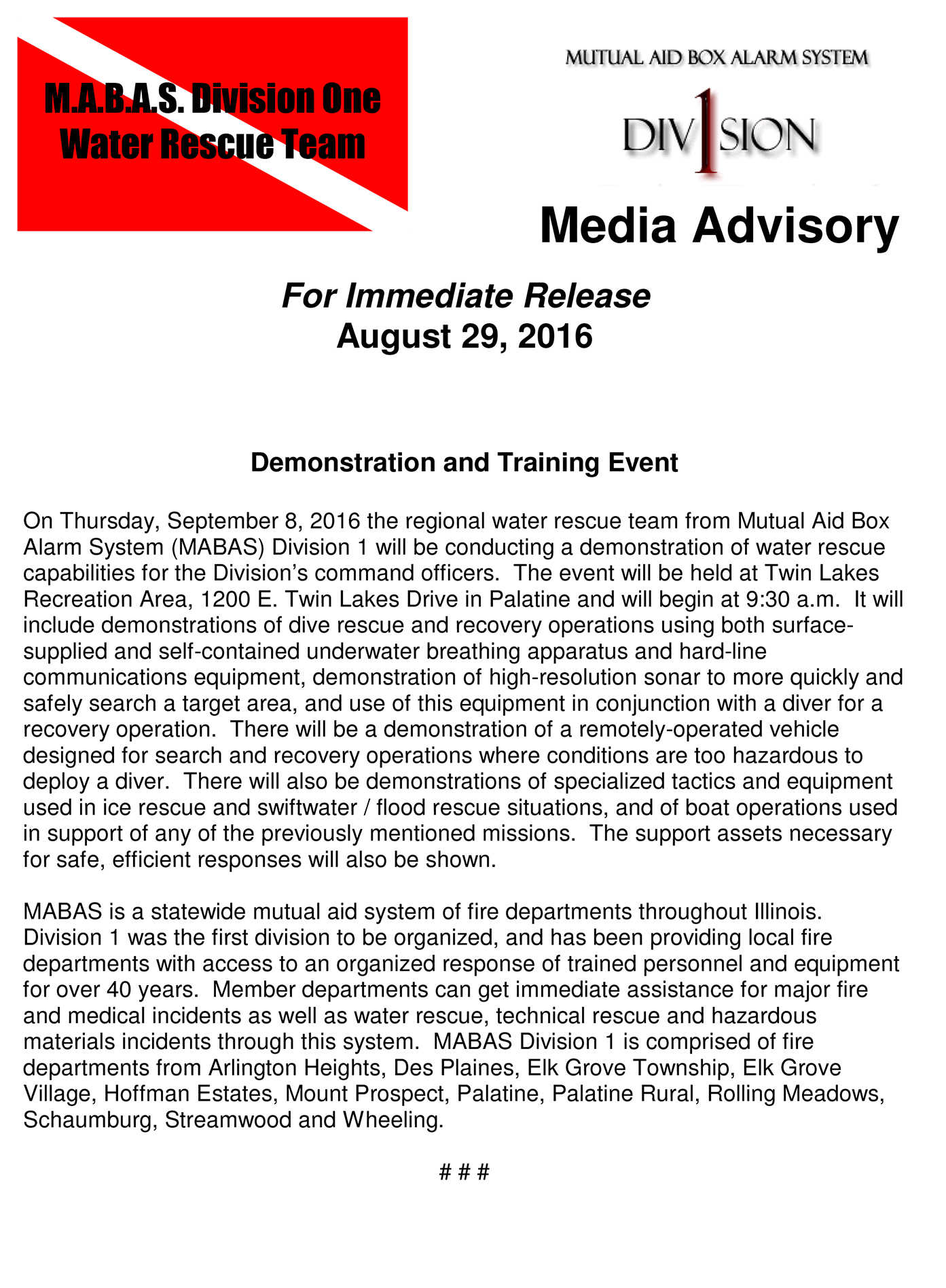 Microsoft Word - Dive Demo 2016 Media Advisory.doc