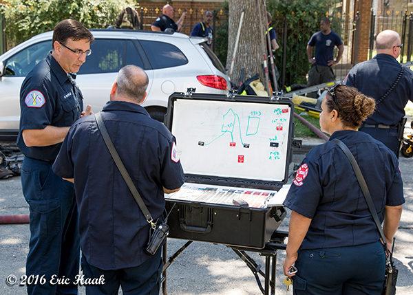 mobile command board at Chicago fire scene