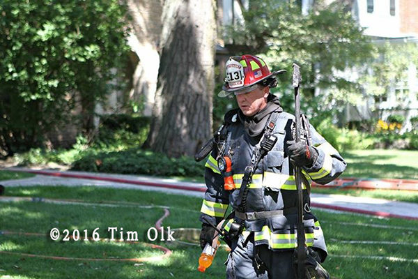 Glenview FD lieutenant after a fire