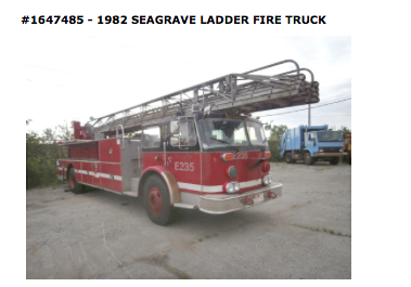 Surplus Chicago Seagrave fire truck for sale