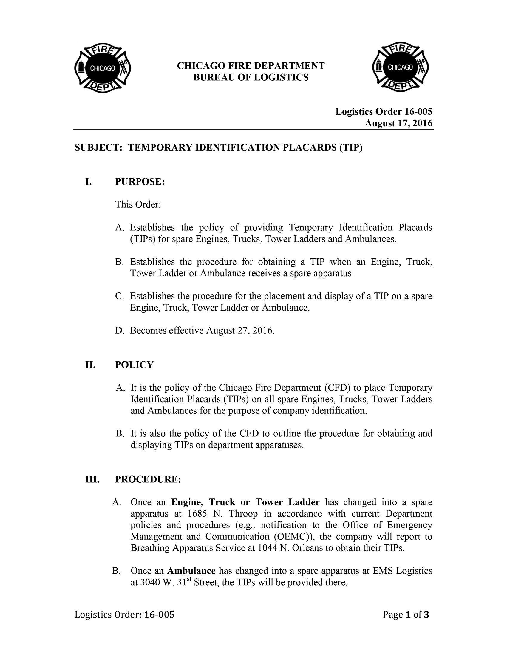CFD Logistics Order 16-005 - Temporary Identification Placards