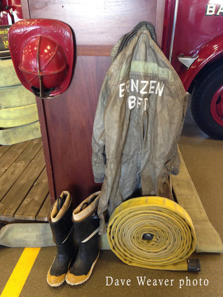 vintage display of firefighting equipment