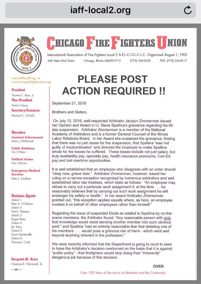 Chicago Firefighters Union Local 2 message
