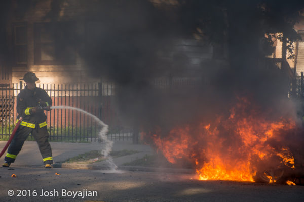 cary fully engulfed in flames