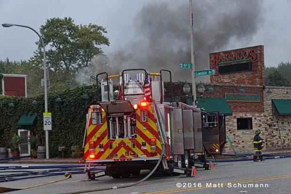 fire truck at restaurant fire
