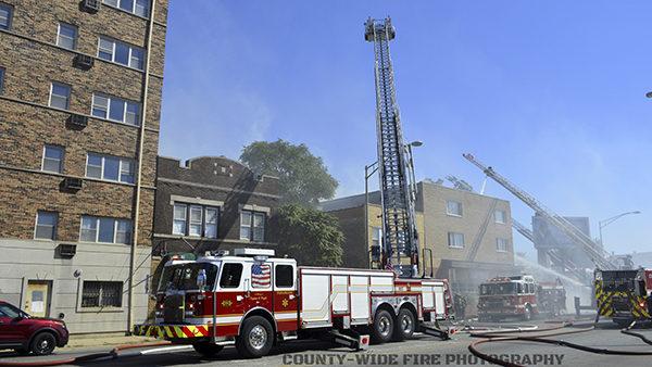 Oak Park FD fire truck at fire scene