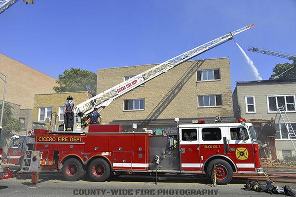 Cicero fire truck at fire scene