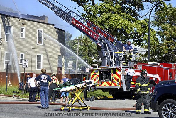 fire scene in Cicero IL