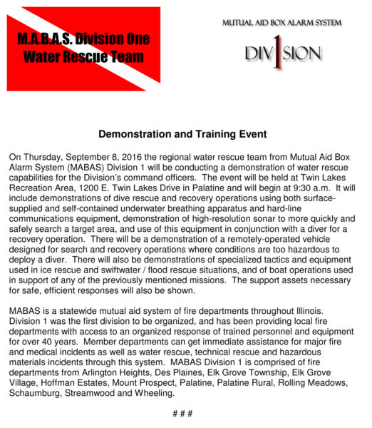 MABAS Division 1 Dive Demo 2016