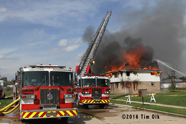 Kenosha fire trucks at burn down