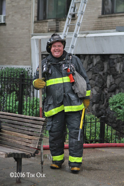 firefighter in PPE after a fire