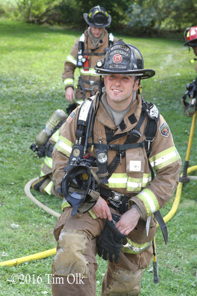firefighter at training site