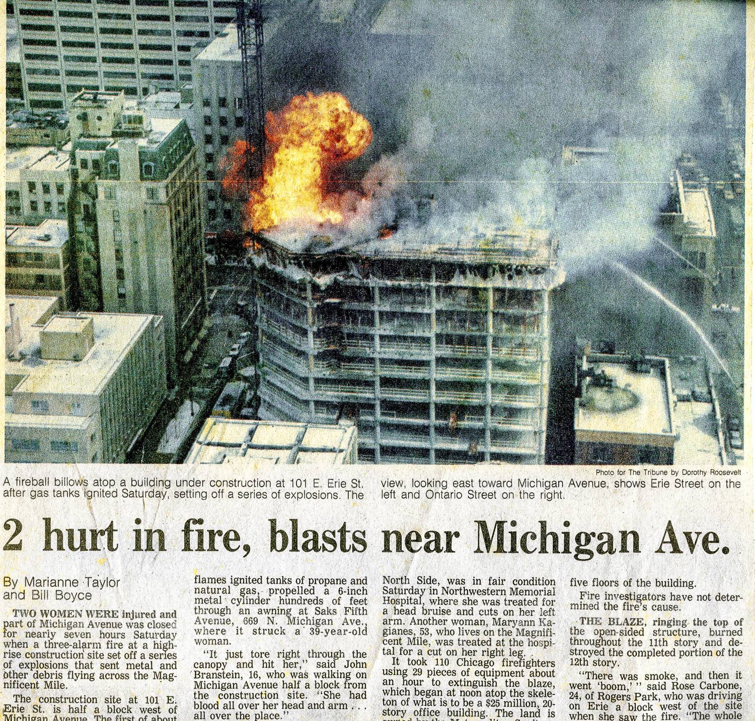 vintage Chicago fire scene news clipping
