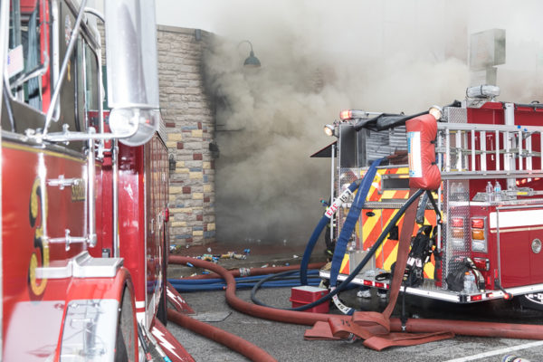 heavy smoke from restaurant fire