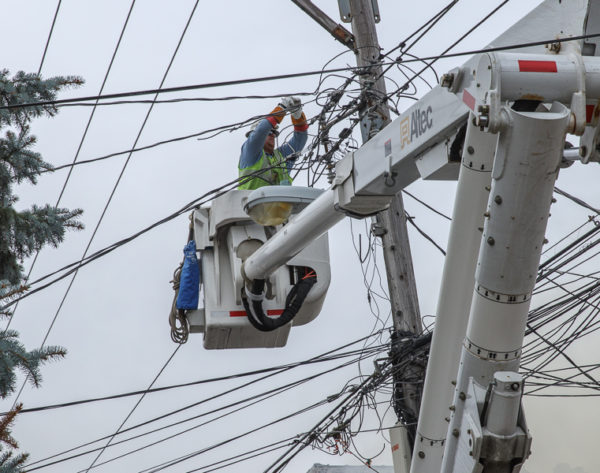 power company cuts electric lines