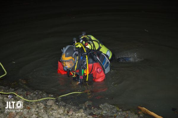 fire department diver at night