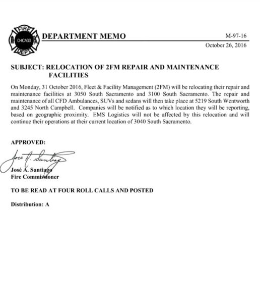 Chicago FD relocates repair facilities